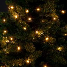Premier 4.9m Length Of 50 Outdoor Battery Operated Multiaction Warm White LED Fairy Lights With Timer Green Cable