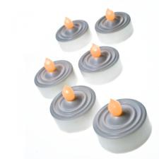Pack of 6 White Battery Operated  LED Flickering Tea Lights