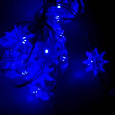 Blue Battery Operated 20 Static LED Flower Lights - 1.5m Long