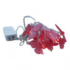 2.35m Length of 10 Red Butterfly Battery Operated LED Insect Lights