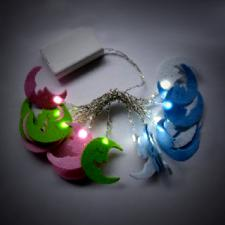1.9m Set Of 20 White Indoor Static Battery Operated LED Pink, Blue And Green Moon Fairy Lights.
