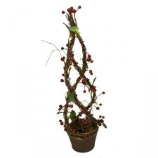 Indoor 50cm Decorative Berry Tree In Pot With Battery Operated LEDs