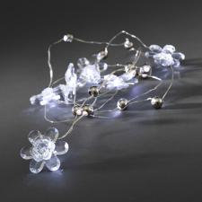 Konstsmide 20 Battery Operated Static White LED Fairy Lights With 6 Acrylic Flowers