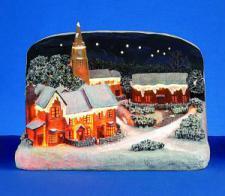 Fibre Optic Winter Scene With Church And Choir - 45cm