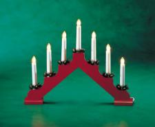 Konstsmide 32cm X 39cm 7 Bulb Indoor Static Red Lacquered Wooden Candlebridge White Cable