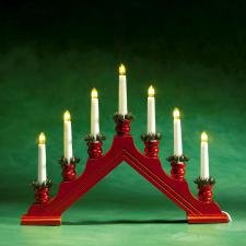 Konstsmide 35cm X 44cm Static Indoor Red Lacquered Wooden Candlebridge With 7 Clear Bulbs White Cable