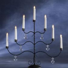 Konstsmide 56cm X 51cm Static Indoor Black Lacquered Metal Candelabra With 7 Clear Bulbs White Cable
