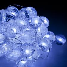 2.45m Length Of 50 White Micro LED Ball Fairy Lights - Silver Wire Cable