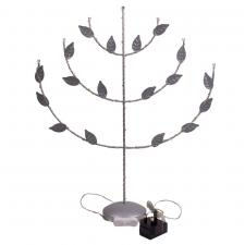 Konstsmide Silver Lacquered Metal Candlestick With 45 LED's