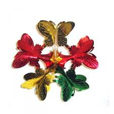 Red, Gold & Green Butterfly Burst - 16