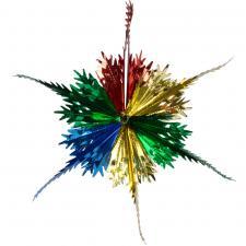 Multi Coloured Foil Snowstar Decoration - 40cm