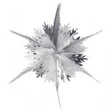 Silver & White Foil Snowstar Decoration - 40cm