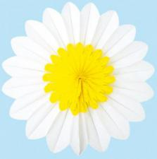 Yellow/White Paper Rosette Flower - 30cm