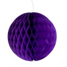 Purple Flame Resistant Honeycomb Paper Ball Hanging Decoration - 20cm