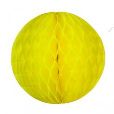 Yellow Flame Resistant Honeycomb Paper Ball Hanging Decoration - 20cm