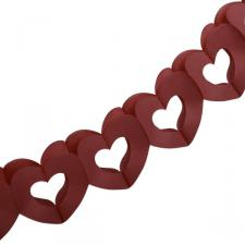 Bordeaux Red Paper Heart Garland - 3m