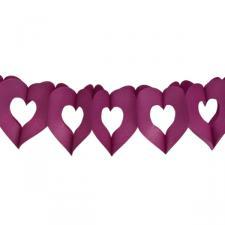 Aubergine Paper Heart Garland - 3m