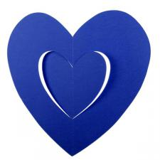 Blue Hanging Paper Heart Decoration - 30cm