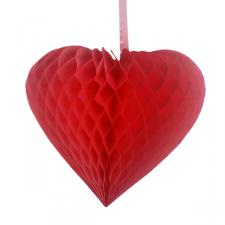 Red Paper Heart Hanging Decoration - 40cm
