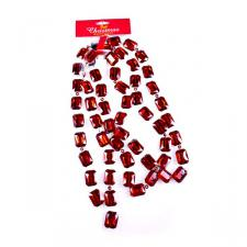 Red & Silver Rectangular Garland - 1.8m