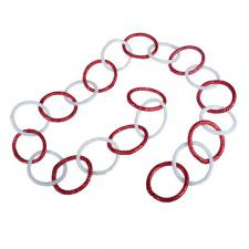 Red & White Iridescent Glitter Chain Link Garland - 8cm X 1.5m