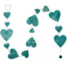 Fairtrade Handmade Patterned Bright Blue Paper Heart Garland - 1.5m