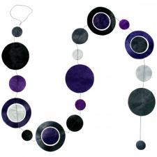 Fairtrade Handmade Grey Paper Silhouette Disc Garland - 1.5m