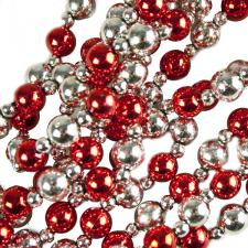 Christmas Red & Silver Bead Garland - 2.4m