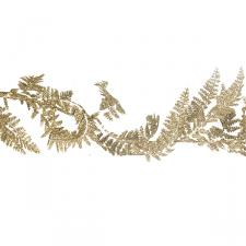 Decorative Gold Glitter Finish Fern Leaf Garland - 1.8m