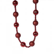 Red Bauble And Bead Christmas Garland - 2.7m