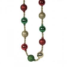 Red, Gold & Green Bauble And Bead Christmas Garland - 2.7m