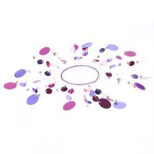 Pink and Aubergine Sequinned Candle Ring - 20cm