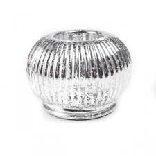 White Rippled Glass Ball Tealight Holder