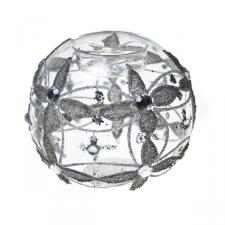 Round Candle Holder With Flower & Bead Detailing