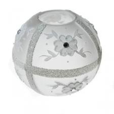 Frosted Round Candle Holder With Flower & Sequin Detailing