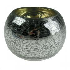 Silver Crackle Glass Round Tealight Holder - 8cm X 6cm