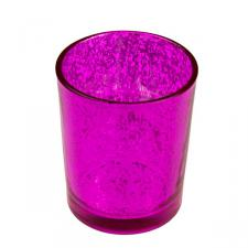 Fuchsia Flecked Glass Tealight Candle Holder - 65mm