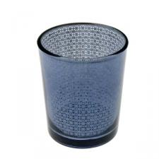 Graphite Snowflake Glass Tealight Candle Holder - 65mm