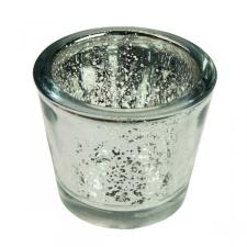Silver Flecked Chunky Glass Tealight Candle Holder