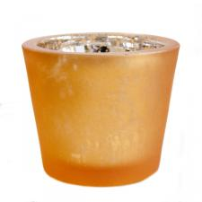 Orange Chunky Frosted Flecked Glass Tealight Candle Holder