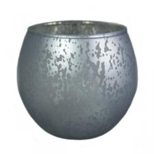 Rounded Pewter Frosted Flecked Glass Tealight Candle Holder - 7cm