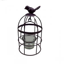 Gisela Graham Rustic Purple Bird Cage Tealight Holder