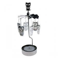Pluto Owl Tealight Carousel - 16cm