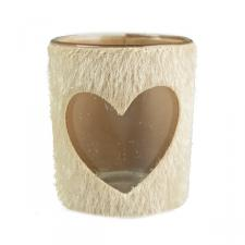 Faux Fur Glass Tealight Holder - Heart Design