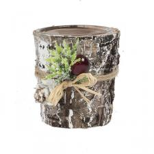 Natural Bark Glass Tealight Holder With Leaf And Berry Decoration - 60mm