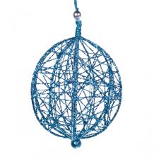 Decorative Turquoise  Wire Mesh Hanging Ball - 13cm