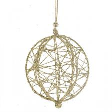 Decorative Gold Wire Mesh Hanging Ball - 13cm
