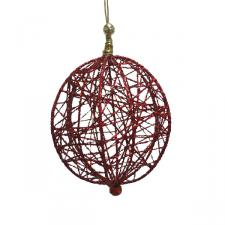 Decorative Red Wire Mesh Hanging Ball - 13cm