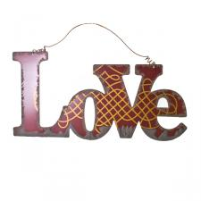 Red And Gold Vintage Style Metal Love Plaque