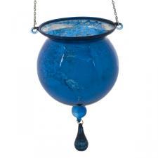 Blue Glass 15cm X 8cm  Round Shaped Tea Light Hanging Decorations